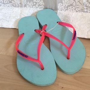 """Havaianas """"Slim"""" Flip Flops blue and pink"""